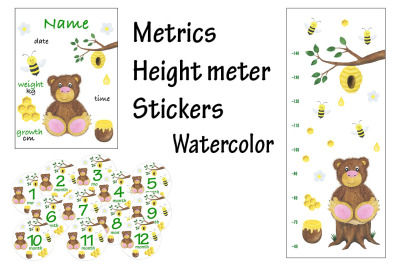 Metric height meter stickers