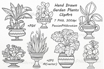 Hand Drawn Garden Plants ClipArt