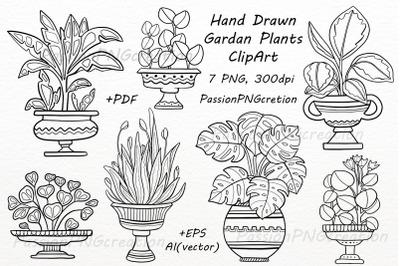 Hand Drawn Garden Plants ClipArt