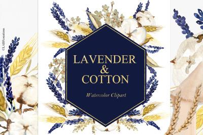 Lavender & Cotton Watertcolor clipart