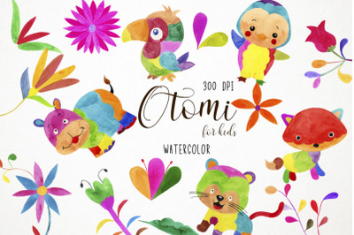 Watercolor Otomi Clipart, Otomi Illustration, Otomi Baby Clipart