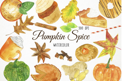 Watercolor Pumpkin Spice Clipart, Pumpkin Spice Illustration, Pumpkin