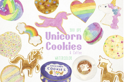 Watercolor Unicorn Cookies Clipart, Unicorn Cookies Illustration