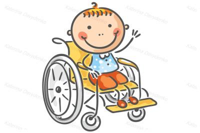 A friendly boy in a wheelchair