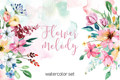 Watercolor floral set Flower melody.