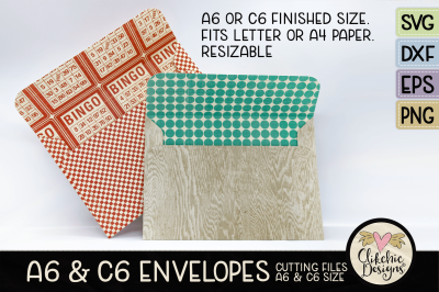 A6 & C6 SVG Envelope Cutting File Template