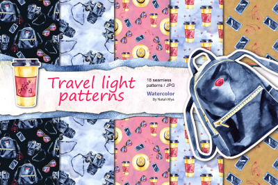 Travel light - seamless patterns