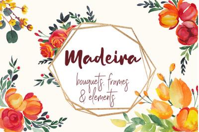 Watercolor Flowers, Frames, Bouquets