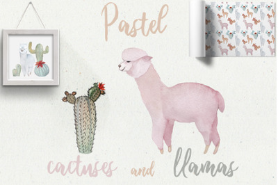 Pastel Llamas & Cactuses Watercolor Illustrations, Patterns, Compositi