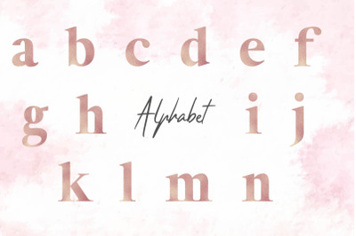 Lowercase Rose Gold Foil Alphabet
