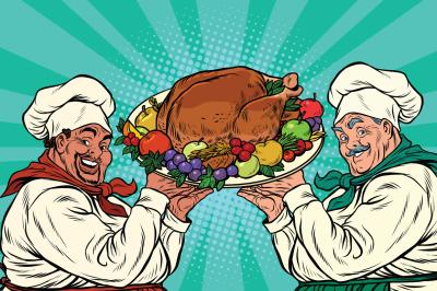 multi-ethnic chefs with roast Turkey
