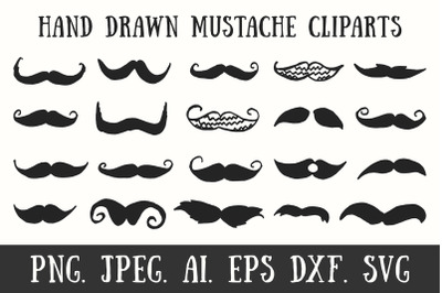 20 Handmade Mustache Cliparts