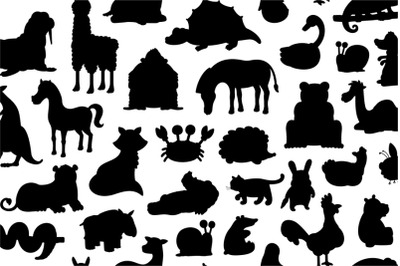 Set of Animals silhouette + Pattern