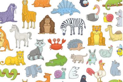 Set of different animals + Pattern