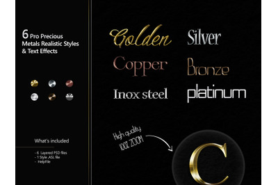 6 Pro Precious Metals Realistic Styles & Text Effects