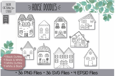 36 House Doodles Hand Drawn Illustrations Bundle