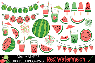 Red watermelon clipart / Summer fruit vector illustrations
