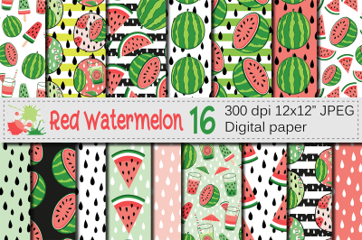 Red watermelon digital papers / Summer seamless patterns