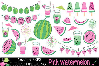 Pink watermelon clipart / Summer fruit vector illustrations