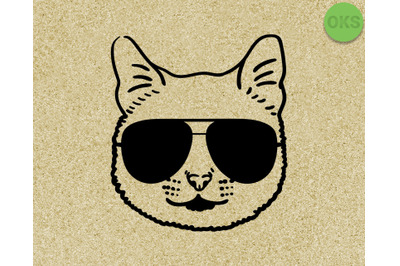 cat with sunglasses svg, dxf, vector, eps, clipart, cricut, download