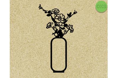 flower vase svg, dxf, vector, eps, clipart, cricut, download