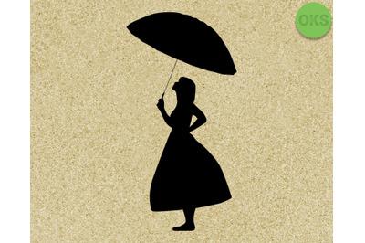girl holding an umbrella svg, dxf, vector, eps, clipart, cricut, downl