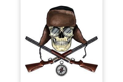 Hand drawn hunter skull