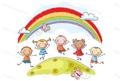 Kids jumping with joy on a hill underneath a rainbow