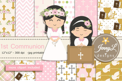 1st Communion Girl Digital Papers and Clipart
