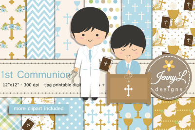 1st Communion Boy Digital Papers and Clipart