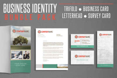 Business Idenity Bundle Pack - Trifold - Business Card - Letterhead