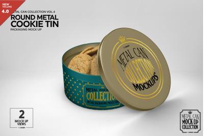 Metal Round Cookie Tin Packaging Mockup