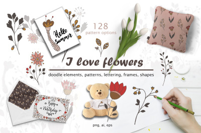 I love flowers - doodles & lettering set