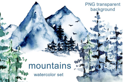 Mountains and forest, watercolor set.