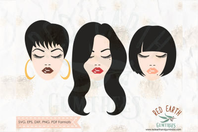 Glamour women with lashes and lips long short hair SVG, PNG, EPS, DXF