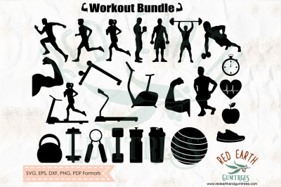 Gym and workout, body building elements bundle SVG, PNG, EPS, DXF, PDF