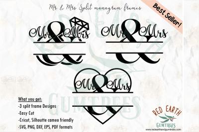 3 Designs Mr & Mrs split monogram frame SVG, PNG, EPS, DXF, PDF