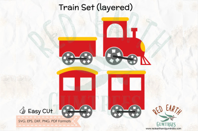 Layered Train set, train set with carriages in SVG, PNG, EPS, DXF, PDF