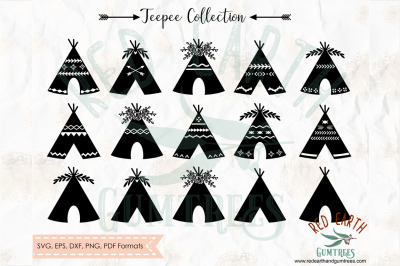 Teepee collection, Boho tents bundle, woodland SVG, PNG, EPS, DXF, PDF