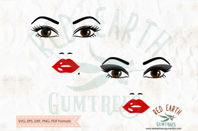Lash and Lips woman 2 styles SVG, PNG, EPS, DXF, PDF