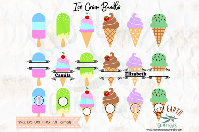 Ice cream bundle ,ice cream monogram frames SVG, PNG, EPS, DXF, PDF