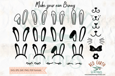 Bunny ears, Make your own Rabbit, Easter bunny SVG, PNG, EPS, DXF, PDF
