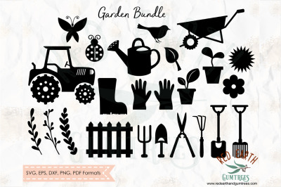 Garden and farm elements bundle SVG, PNG, EPS, DXF, PDF