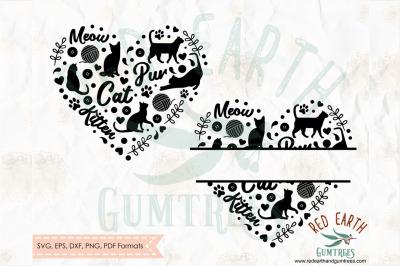 Cat lover, cat heart, cat split monogram frame SVG, PNG, EPS, DXF,PDF