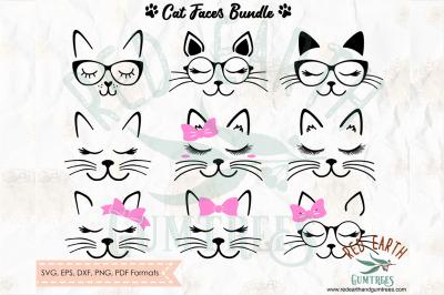 Cat Faces with lashes Bundle SVG, PNG, EPS, DXF, PDF
