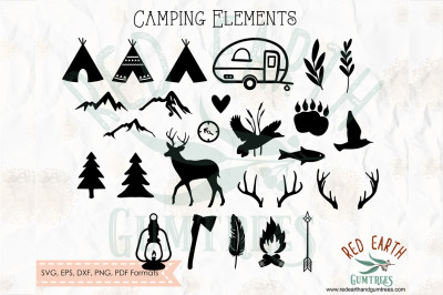 Camping outdoor and nature elements bundle,boho SVG, PNG, EPS, DXF, PD