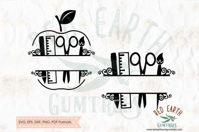 School teacher apple split monogram frame SVG, PNG, EPS, DXF, PDF