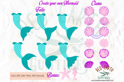 Create your own Mermaid kit, Mermaid tail, clam SVG, PNG, EPS, DXF, PD
