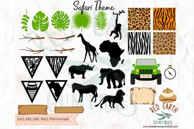 Huge Safari theme bundle, animal patterns SVG, PNG, EPS, DXF, PDF