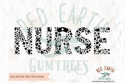 Nurse floral, nurse letters,nurse decal SVG, PNG, EPS, DXF, PDF